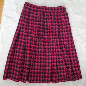 Vintage Houndstooth Wool Skirt with Pleats sz S